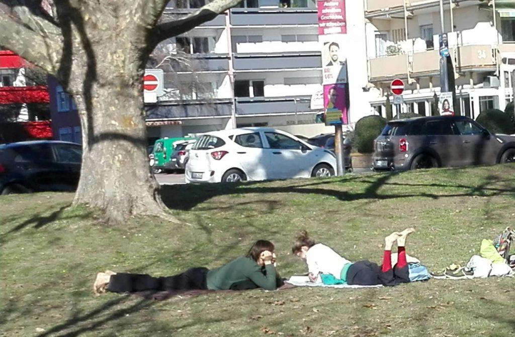 Im Park liegt ein Pärchen bäuchlings im Gras, lesend und relaxend
